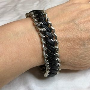 Jewelry - Silver and Black Leather Braided Chain Bracelet